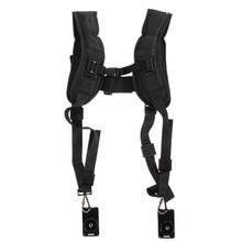 Black Double Dual Camera Shoulder Strap Hand Free Quick Rapid Sling Camera Belt Adjustment for Canon Digital DSLR Strap