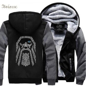 Odin Vikings Hoodies Sweatshirts Männer 2018 Winter Warme Fleece Herren Dicke Zipper Mit Kapuze Casual Neue Mode Jacken Mantel