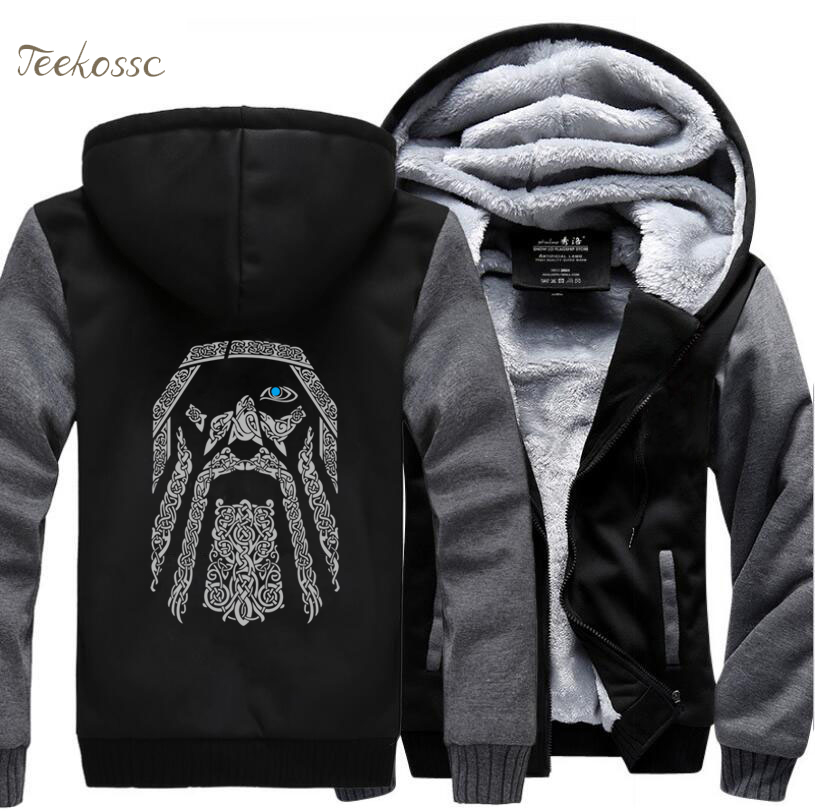 Odin Vikings Hoodies Sweatshirts Men 2018 Winter Warm Fleece Mens Thick Zipper Hooded Casual New Fashion Jackets Coat
