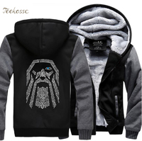 Odin Vikings Hoodies Sweatshirts Men 2018 Winter Warm Fleece Mens Thick Zipper Hooded Casual New Fashion Jackets Coat