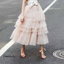 Весенняя модная женская кружевная юбка принцессы феи, 4 слоя, вуаль, фатиновая юбка, пышная модная юбка, длинные юбки-пачки