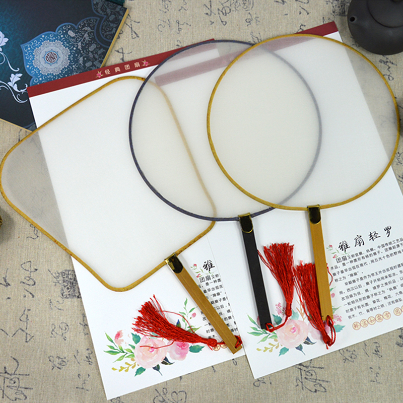 Chinese Vintage Royal Court Round Hand Held Fan DIY Art Painting Gift White Ro