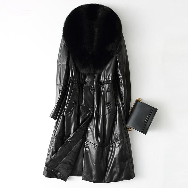 Leather Genuine Women Jacket Natural Sheepskin Coat Real Fox Fur Collar Warm Winter Down Jackets Plus Size 28212 WYQ2058 S