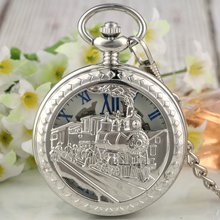 Unique Silver Steam Train Case Pocket Watch Delicate Dial Durable Alloy Neckalce Rough Chain Accessory Pendant Watches nature bamboo case quartz pocket watches delicate carving dial alloy pendant chain gift for unisex