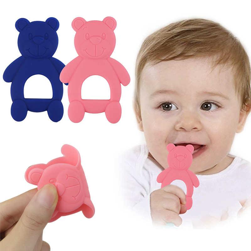 NUOVO Silicone Teether Per Dentizione Orso Sveglio di Figura Per Bambini Teethers di Sicurezza Per Bambini Dentizione Neonati Da Masticare Giocattoli Neonato Pulizia Dei Denti