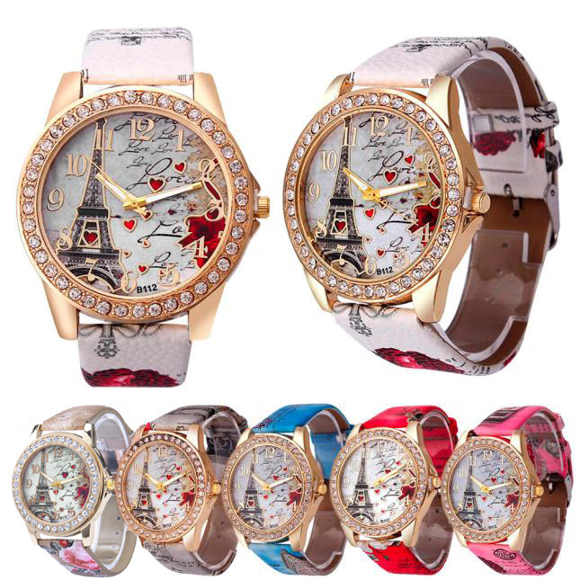 Geneva Womens Watch Tower Pattern Rhinestone Leather Band Analog Quartz Vogue Wrist Watches cheap wristwatches for women YE1 H01300832f4be45c7a5cf53eaeb43a697U