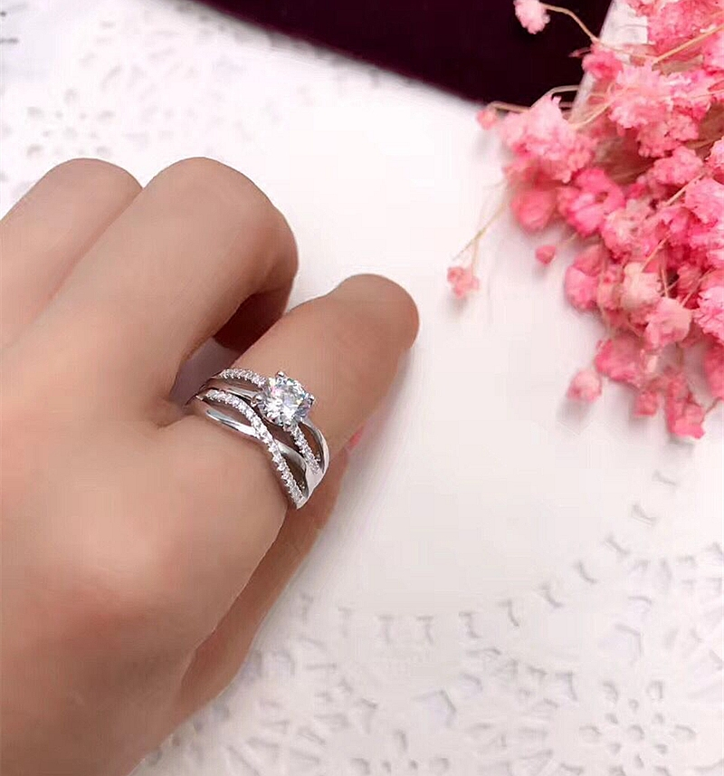 925 Silver AAA Zircon Luxury CUrve Intersection Female Crystal Round Stone Ring Engagement Ring Vintage Party
