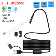 8mm lens Camera Endoscope HD 1200P IP68 2M Hard Flexible Tube Mirco USB Type C Borescope Video Inspection for Android Endoscope