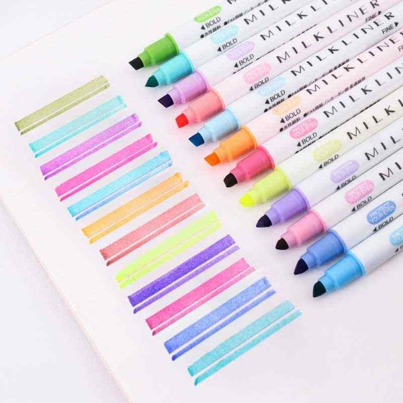 12PCS Dual-Headed Highlighter Fluorescent Marker Pen Bright Colors Stationery