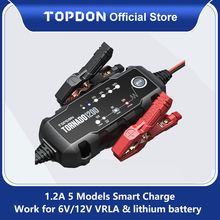 Topdon T1200รถแบตเตอรี่ชาร์จ6V 12V อัตโนมัติตะกั่วกรดลิเธียมแบตเตอรี่ Charger IP65แบตเตอรี่รถจักรยานยนต์รถจักรยานยนต์รถจักรยานยนต์ Charger