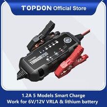 Topdon T1200車のバッテリー充電器6v 12 12vの自動鉛酸リチウム電池充電器IP65車のオートバイのバッテリー充電器