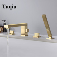 Tuqiu Bathtub Faucet Widespread Tub Sink Mixer Tap Brushed Gold/black Brass Bathroom Bath Shower Faucet with Hand shower Head