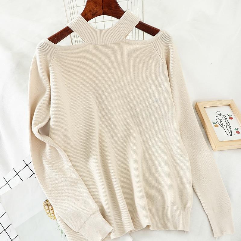 Heliar 2020 Spring Off Shoulder Sweater For Women Streetwear Fashion Long Casual Solid Knit Pullovers Femme Sweater Women
