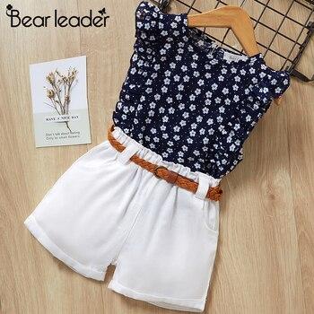 Футболка и шорты для девочки Bear Leader, летний детский повседневный комплект, синяя футболка с цветочным принтом + штаны, на возраст от 3 до 7 лет,...