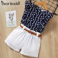 Urso líder 2019 novo verão crianças casuais define flores azul t-shirt + calças meninas conjuntos de roupas de verão terno para 3-7 anos
