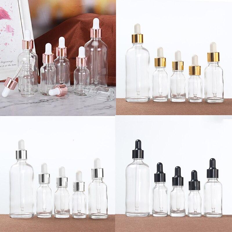 5-100 мл флакон-капельница бутылка прозрачная Стекло упаковка пустой косметический контейнер ароматерапия Пипетка для жидкости путешествия ...
