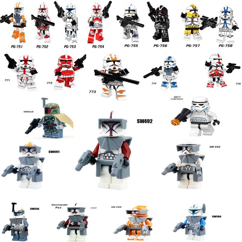 Single Clone Trooper Action Figures Star Wars Battle Droid Clone Soldiers Storm-trooper Commander Building Blocks Toys