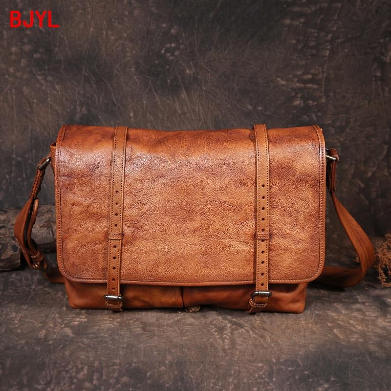 Business casual leather briefcase men's bag handmade Cowhide leather men travel shoulder bag messenger postal briefcase tide