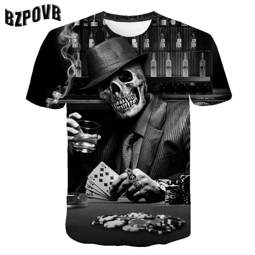Mode 3D Print Schedels Patroon Afdrukken Mannen Zomer Toevallige Ademende Tops Mode Mannen Korte Mouwen Cool T-shirt