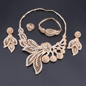 Image 2 - Bridal Gift Nigerian Wedding African Beads Jewelry Set Brand Woman Fashion Dubai Gold Color Jewelry Set Wholesale Design