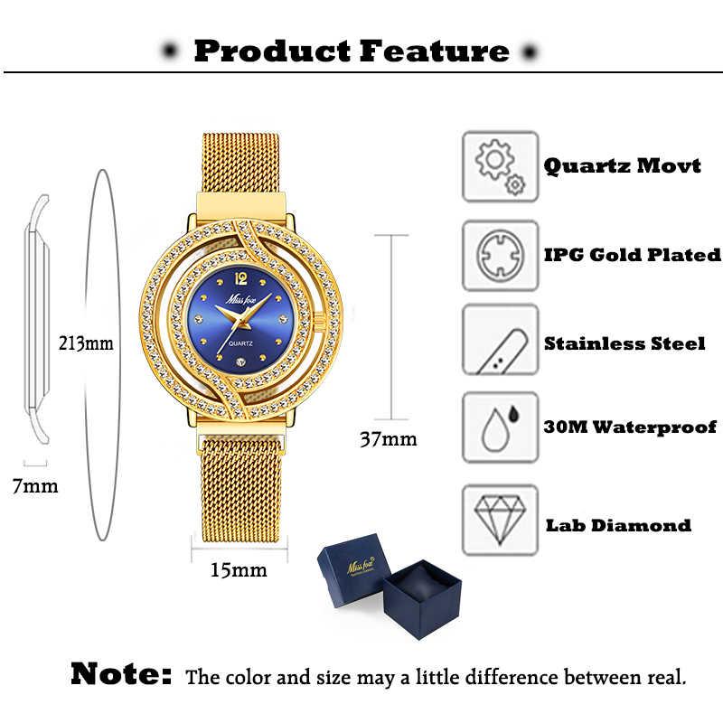 MISSFOX магнитные часы женские роскошные брендовые водонепроницаемые женские часы с бриллиантами полые синие кварцевые элегантные золотые женские наручные часы