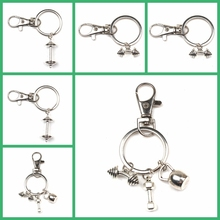 New Hot Fashion Accessories Keychain Mini Dumbbell Discus Barbell Fitness Charm Designer Gift Coach Souvenir