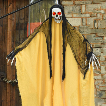Large Hanging Ghost Halloween Hanging Horror Props Glowing Dolls Voice Control Frighten Scary Sound Room Escape Pendant Decor