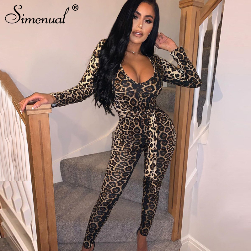 Simenual Leopard V Neck Bandage Hot Sexy Jumpsuits Long Sleeve Skinny Party Clubwear Fashion 2019 Rompers Womens Jumpsuit Slim