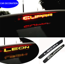 1 шт. углеродное волокно наклейки для автомобиля стоп-сигналы Лампа высокая гора стоп-сигнала для seat leon cupra fr + 1 шт. углеродное волокно автомо...