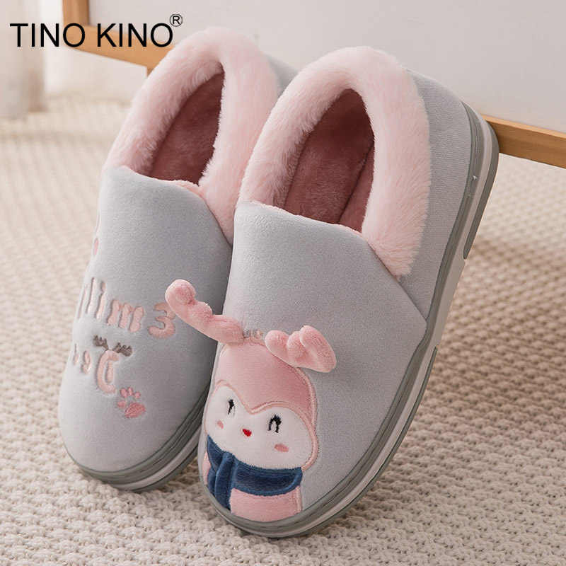 Women Home Cartoon Deer Flat Slippers Indoor Shoes Female Slip On Cute Furry Warm Laides Christmas Woman Shoes Soft Footwear