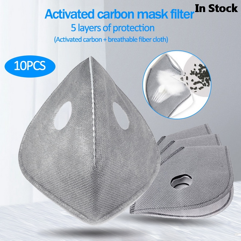 Fast Delivery 10pcs 4/5 layers Activated Carbon Anti Dust Mouth KN95 Face Mask Filter Set Insert Dustproof Health Care Supplies
