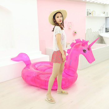 240*140*120cm Pink transparent unicorn floating row for Pool Adult Swimming Ring Float Swim Circle Toys Beach Party Supply