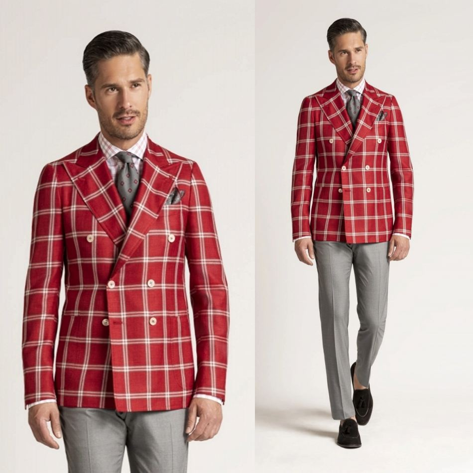 Hot Sale Wedding Tuxedos Red Check Double Breasted Mens Suit Formal Prom Party Wear Blazer Only One Pieces