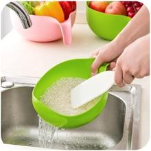 Домашняя Высококачественная кухонная миска для риса, фруктовая чаша, сливная корзина с ручкой, пластиковая Толстая корзина для мытья, кухонные принадлежности HNS31