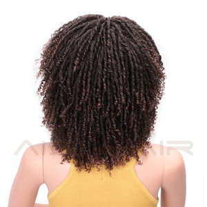 Image 4 - AISI HAIR Soft Short Synthetic Wigs for Black Women 14 inch Dreadlock Ombre Burg Crochet Twist Hair Heat Resistant Fiber