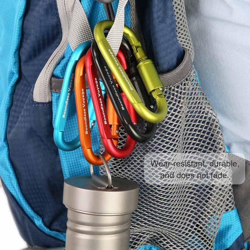 Boundless Voyage Ultraleichte Karabiner Aluminiumlegierung D Typ H/ängende Schnalle Quikdraw Camping Wanderhaken Zubeh/ör Werkzeugausr/üstung