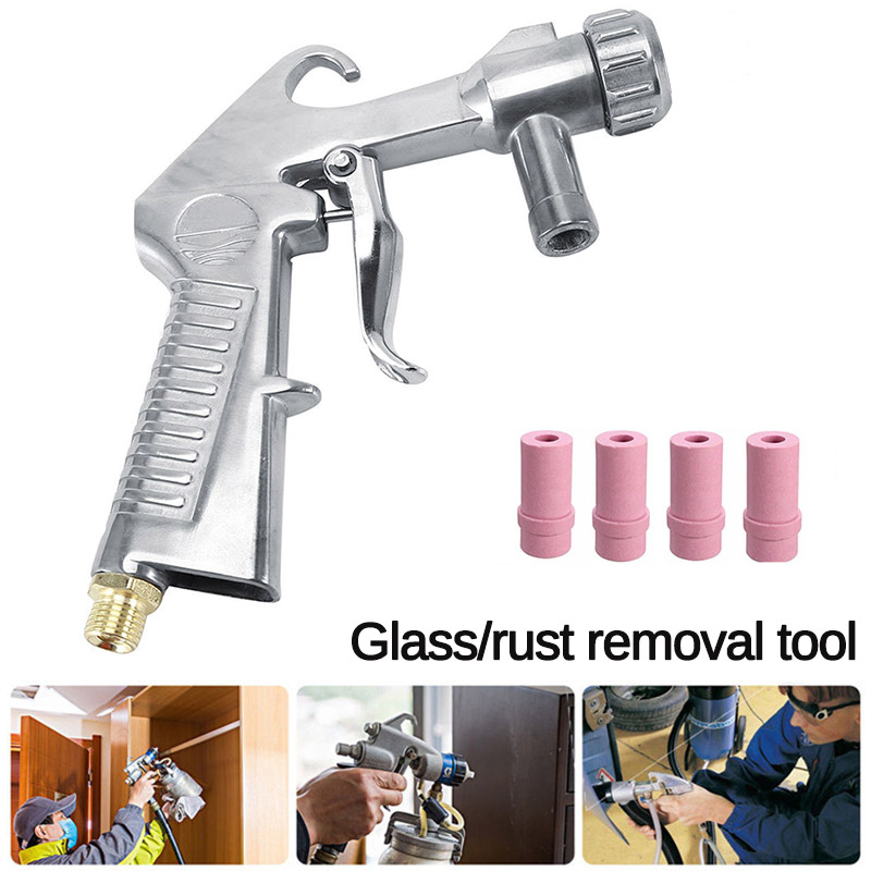 Sandblaster Feed Blast Nozzle Air Siphon Sand Blasting Abrasive Tool Kit With 4pcs Ceramic Nozzles Tips Power Tools Sprayer