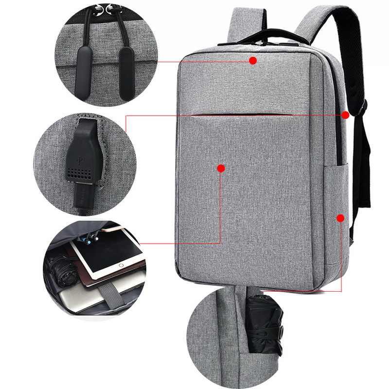 Yeni basit erkekler çok fonksiyonlu Anti hırsızlık sırt çantası Laptop USb sırt çantaları su geçirmez Schoolbag iş erkek seyahat çantaları