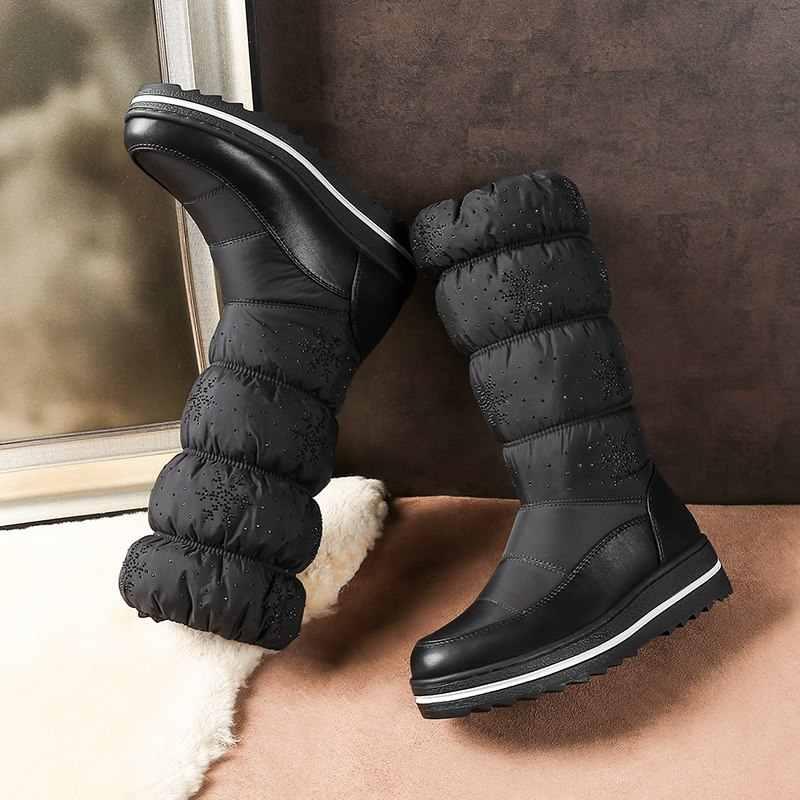 Morazora Size 35-44 Waterdichte Snowboots Vrouwen Strass Platform Laarzen Dikke Pluche Warme Winter Laarzen Vrouwelijke Mid Kalf laarzen