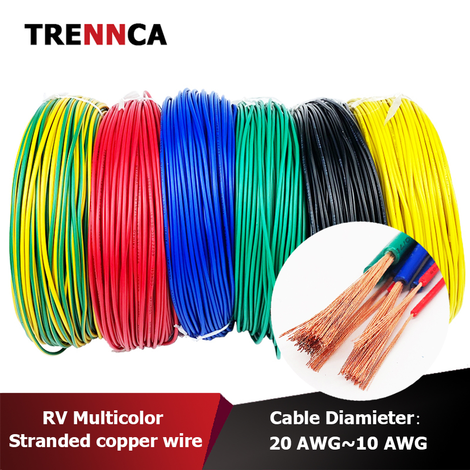 RV fine wire Stranded Copper Cable 220V el Electric Electrical Wire PVC Single Cores wires Speaker Power Led 4awg 14 16 18 awg