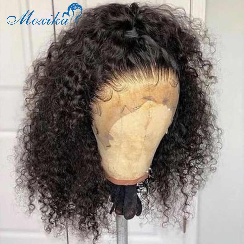 Bob koronkowa peruka na przód peruka z lokami ludzki włos brazylijska peruka 150 peruka krótka Bob peruki Remy 4x4 zamknięcie peruka kręcone ludzkie włosy peruki