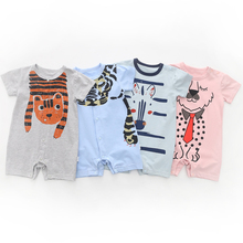 цены на Summer Baby Boy Clothes Infant Short Sleeved Cartoon Romper Girl Newborn Cotton Jumpsuit Outfit New Brand Bebe Clothing 3-24M в интернет-магазинах