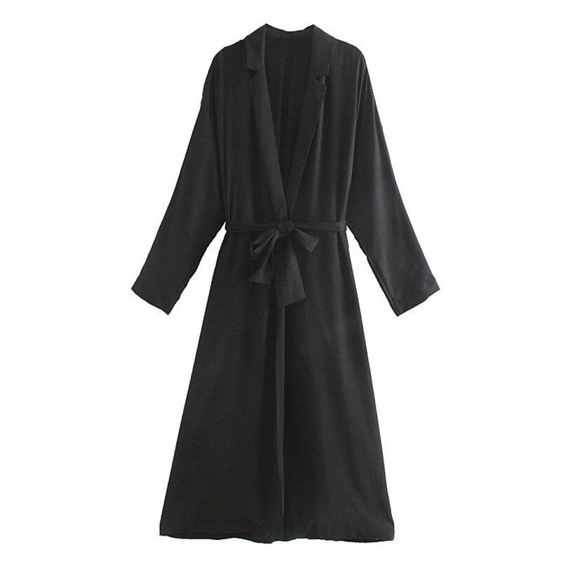 2019 Women Autumn Black Thin   Trench   Loose Belt Casual Long Coat Sashes V Neck Long Sleeve   Trench   Coat