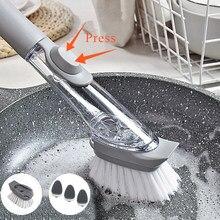 Brosse de nettoyage de cuisine 2 en 1, brosse de nettoyage à Long manche avec brosse amovible, distributeur d'éponge, brosse à vaisselle, outils de cuisine