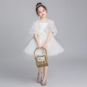 Белое Тюлевое платье принцессы с цветочной вышивкой для девочек; платье с короткими рукавами для свадьбы, дня рождения; нарядные платья для ...
