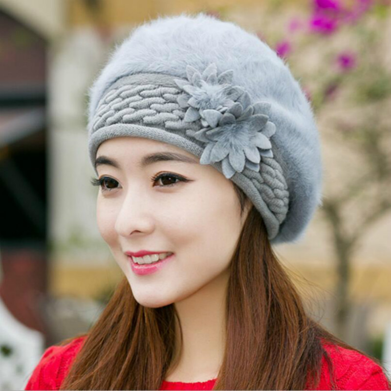 Women Winter Autumn Elegant Beret Hat Rabbit Fur Thick Warm Fashion Autumn Female Skullies Casual Flat Cold Fleece Beret Hat Cap