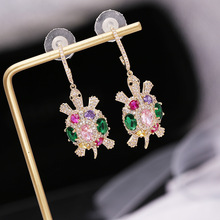 New S925 Silver Needle Individual Fashion Design Sense Small Turtle Earrings for women Coloured Zircon Animal Jewelry