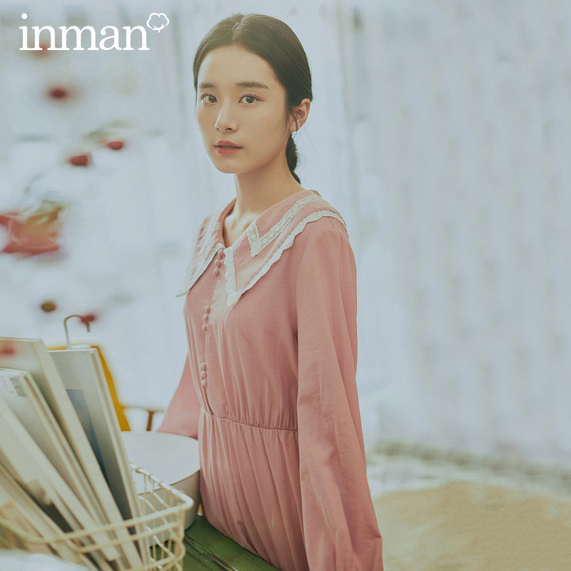 INMAN 2020 Spring New Arrival Literary Splicing Doll Collar Age-reducing Sweet Pleated Long Sleeve Dress