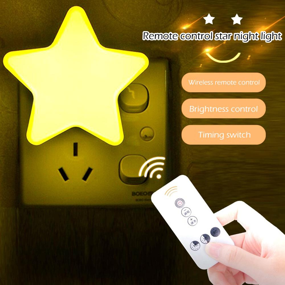 LED Plug-in Star Night Light Remote Control Dimmable Light Cute Timing Lamp Bedroom Bathroom Hallway Stairs Lamp Kid Gift