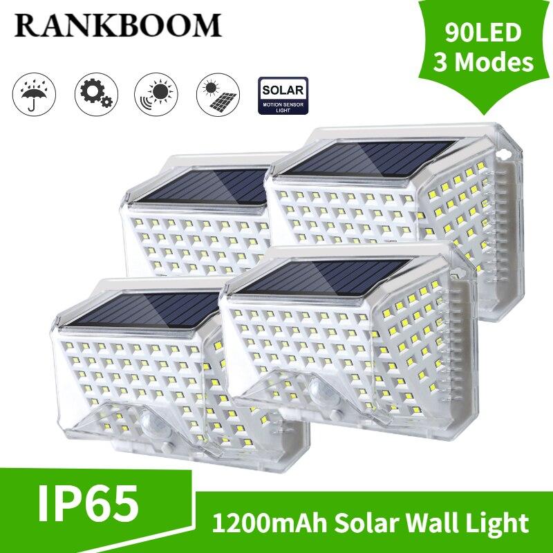 Ao ar livre led solar luz de parede 90 led ao ar livre lâmpada solar energia pir sensor movimento à prova dwaterproof água jardim para decoração da lâmpada